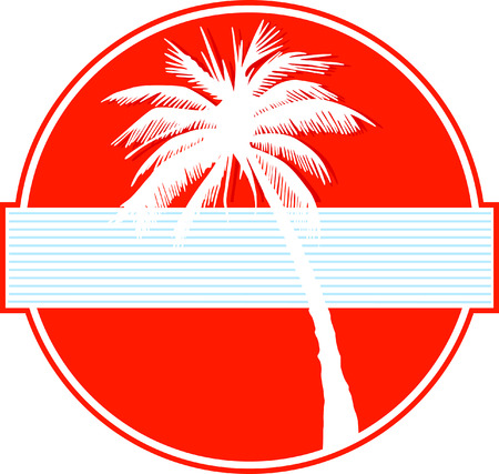 palm tree on red Vector
