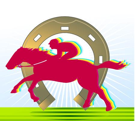 carreras de caballos: carreras de caballos y la Herradura  Vectores