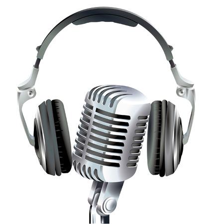broadcasting: micr�fono y un conjunto de cabeza