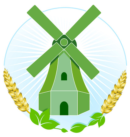traditional windmill: green windmill