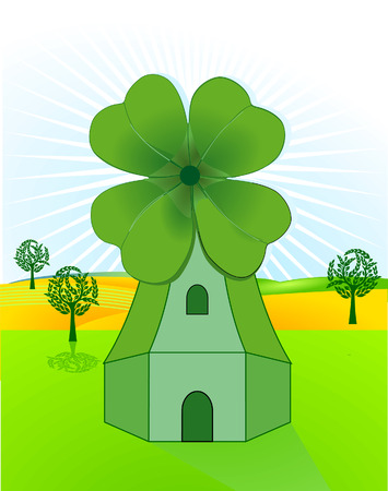 wind mill, clover Stock Vector - 7361492