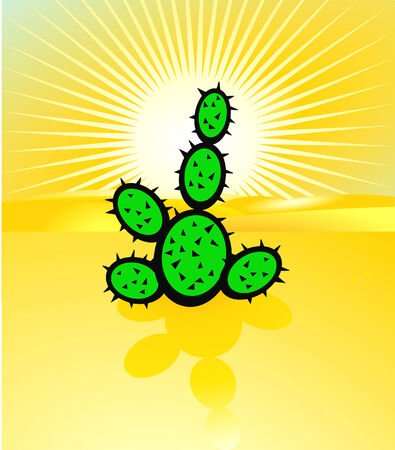 warmly: desertification and cactus Illustration