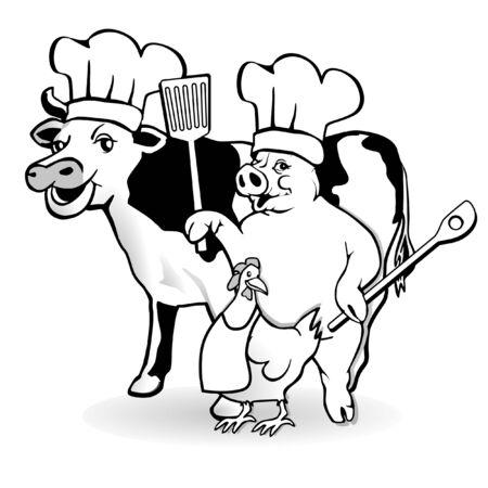 cochinos: cocina de granja animal