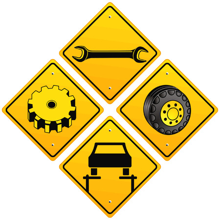 Mechanics repairing car sign