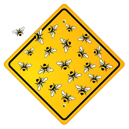 honeybee: social bees on sign