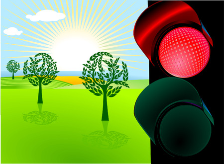 nature conservation and red traffic light Stock Vector - 7513285