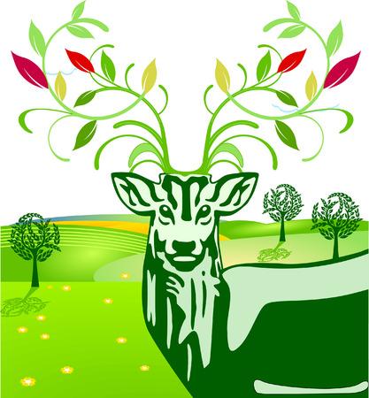 Deer and Flowers Vector
