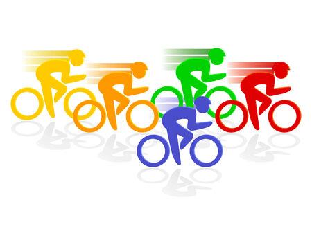 andando en bicicleta: ciclo de carreras  Vectores