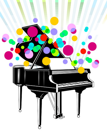 pianista: Concierto de piano de cola  Vectores