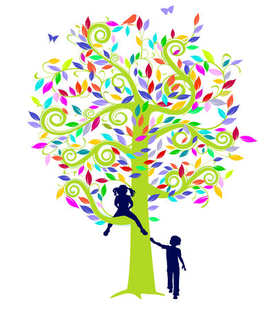 color tree and children Illustration