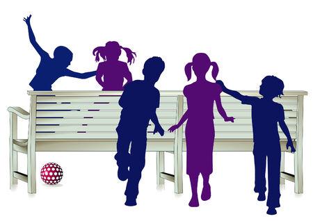 kinder: Happy children silhouettes