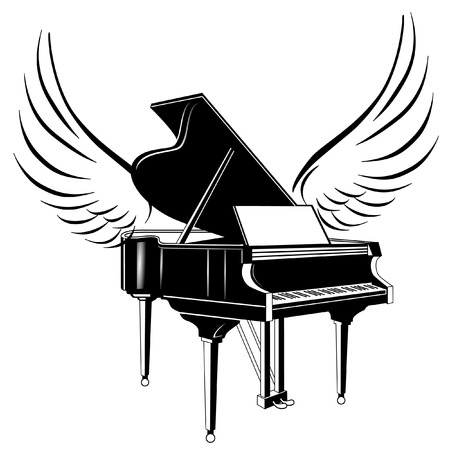 grand piano and flying wing Vector