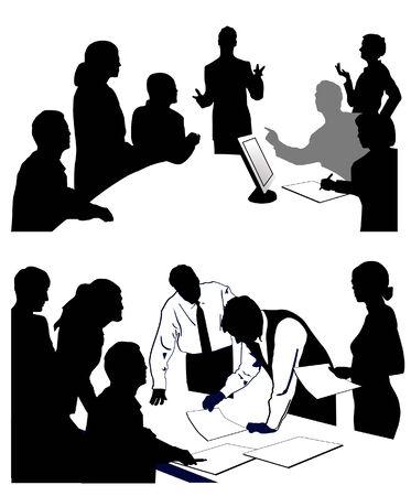 vergadering een presentatie geeft. Vector Illustratie