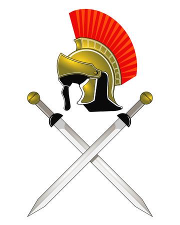Roman Helmet and swords Vector
