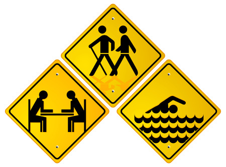 hiker: trekking, swimmer, relax sign