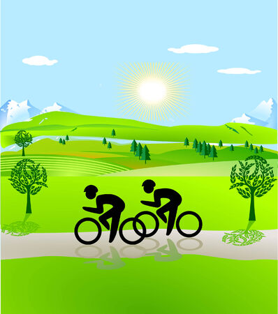 bicycling: bicycling and open landscape Illustration