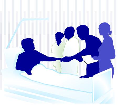 doctors and patient: paciente en el hospital  Vectores