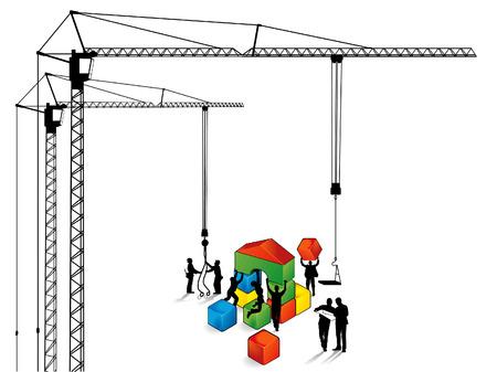 scaffold: building construction works Illustration