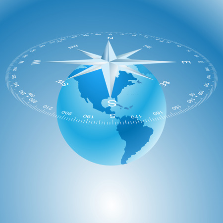 compass rose and globe Vector