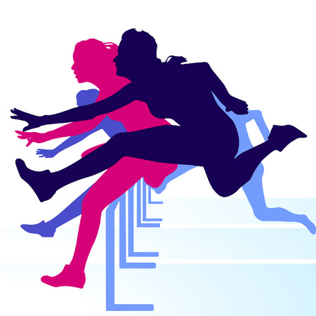 athletics track: hurdle race women Illustration