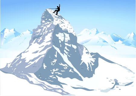 swiss alps: strong mountain climbing Illustration