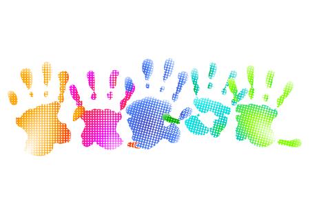 repujado: impresiones de mano de arco iris  Vectores