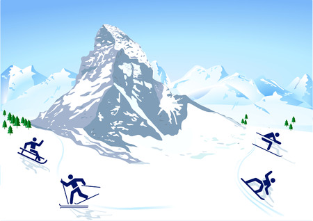winter sports in the mountains Vector