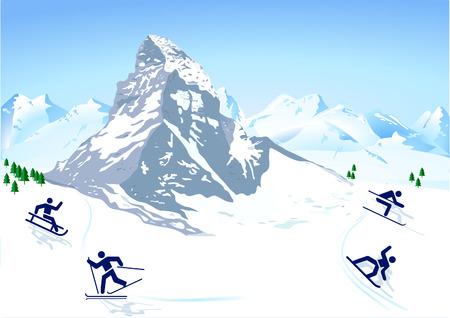 schweiz: winter sports in the mountains Illustration