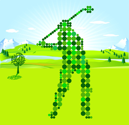 scores: Golf Player green scores Illustration
