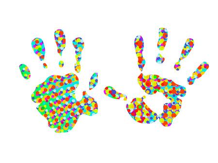 repujado: dos coloridos Hand-impresiones  Vectores
