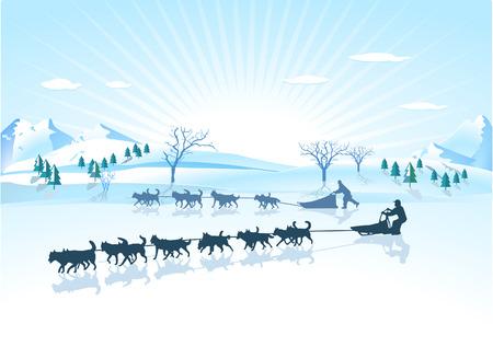 Perro de trineo de Huskies  Ilustración de vector