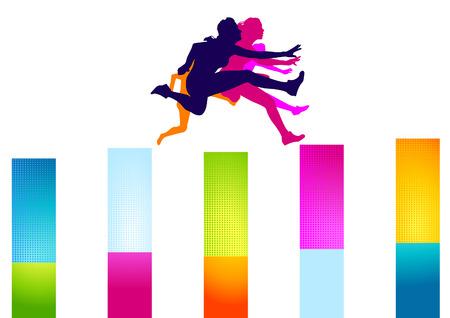 colorful hurdles women Stock Vector - 7909638