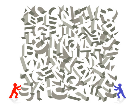 piling: letter figure piling Illustration