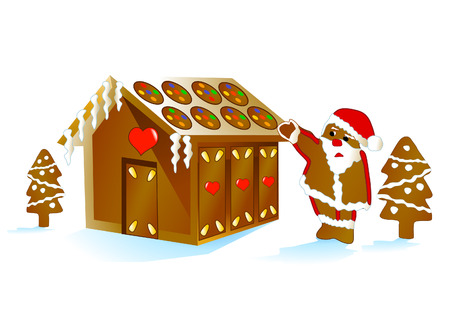 gingerbread house: Santa Claus with Gingerbread House Illustration
