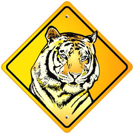 wildlife conservation: Tiger Sign Illustration