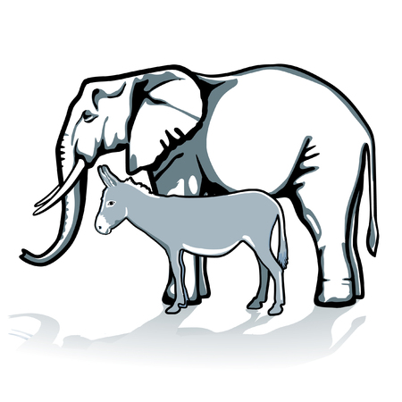 elephant and donkey, republican and democrat Vector
