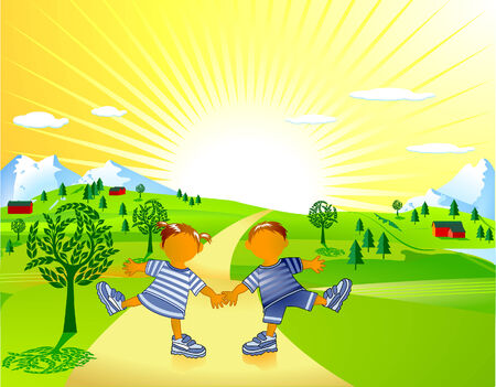 ferien: frolicking children Illustration