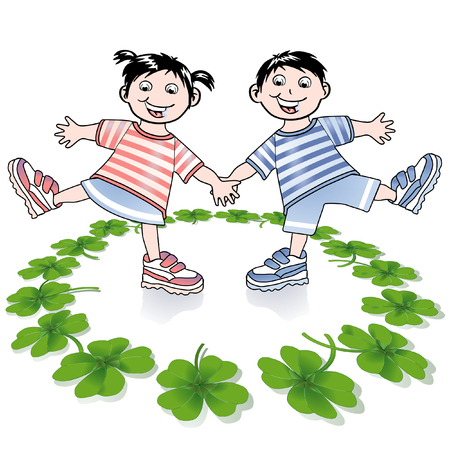 fourleafed: children and four-leafed clover