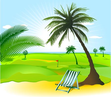 Ouvrez le paysage avec palmier Vecteurs