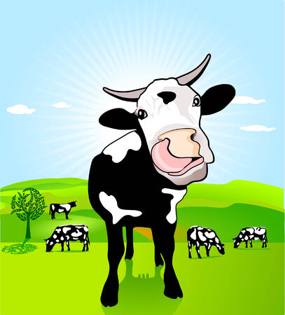 cow with loose tongue Illustration
