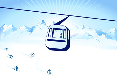 tirol: cable-way and winter sports  Illustration