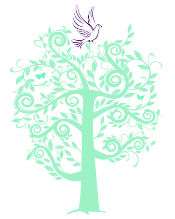 esperanza: Paloma con �rbol Vectores