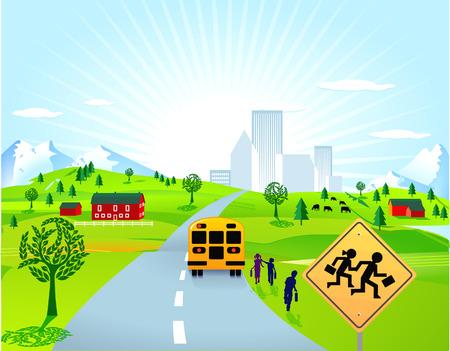 schoolbus: school bus and school children