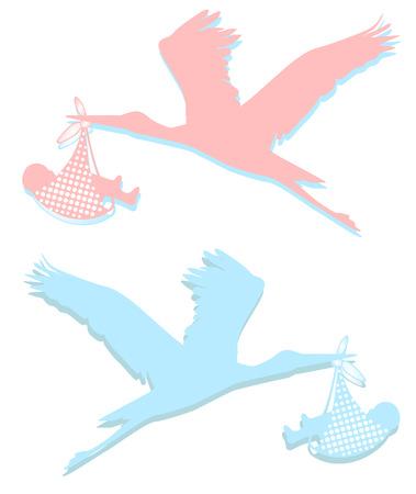stork rose and light blue Illusztráció