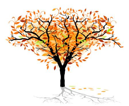 boom met vogels: herfst loof boom Stock Illustratie