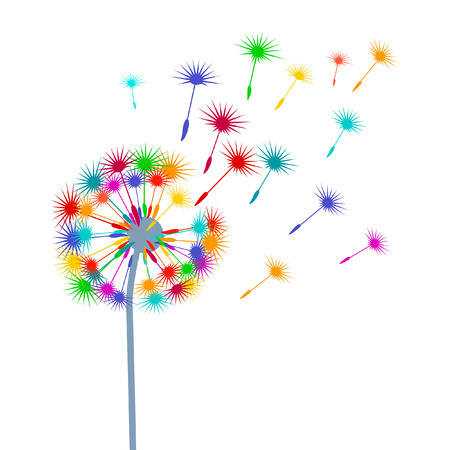 dandelion wind: blow-ball colorful Illustration