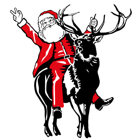 Santa Claus to ride a deer Stock Vector - 8171502