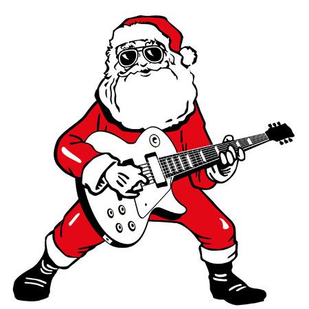 santa funny: Santa Claus with electric guitar Illustration