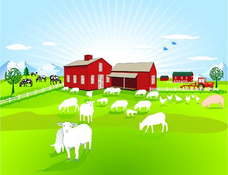 landbouw huis dieren  Vector Illustratie