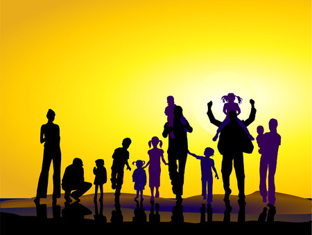 families and sundown Vector